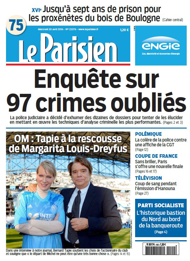 Le Parisien + Journal de Paris du Mercredi 20 Avril 2016