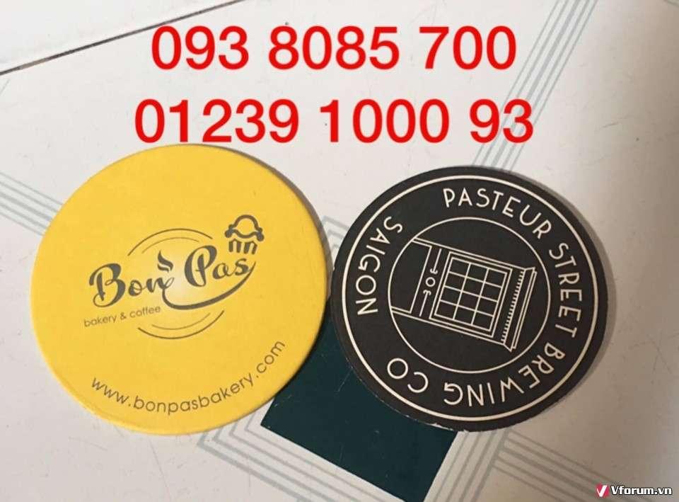 Cơ sở sản xuất lót ly giấy,vải nỉ, nhựa PVC in, thêu logo làm quà tặng quảng cáo doanh nghiệp giá rẻ 0938085700
