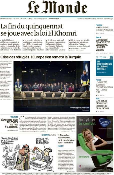 Le Monde du Mardi 8 Mars 2016