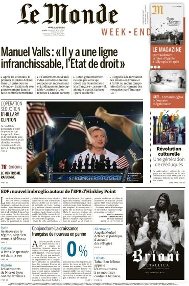 Le Monde du Samedi 30 Juillet 2016