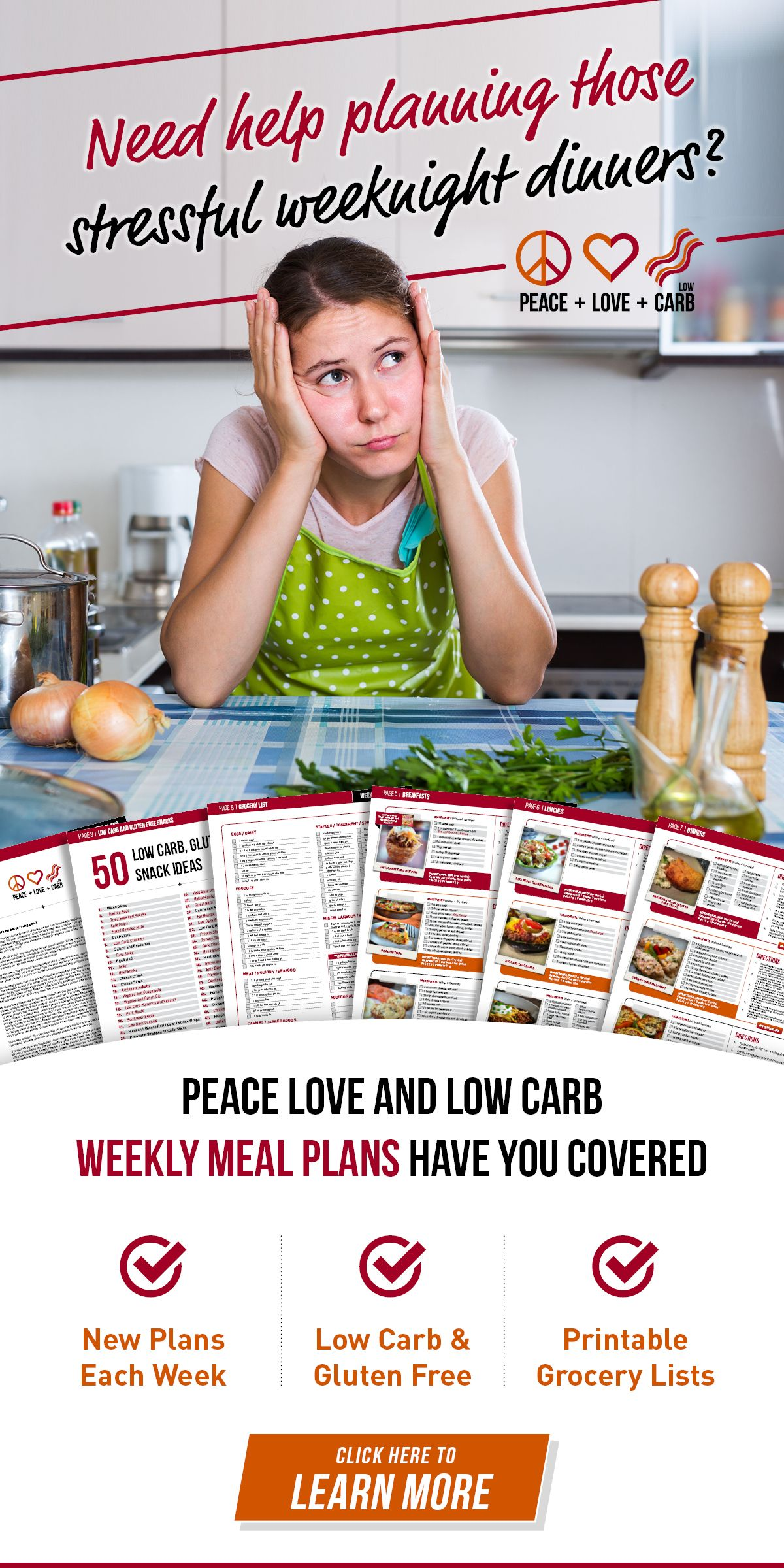 Peace, Love and Low Carb - Low Carb and Gluten Free Weekly Meal Plans
