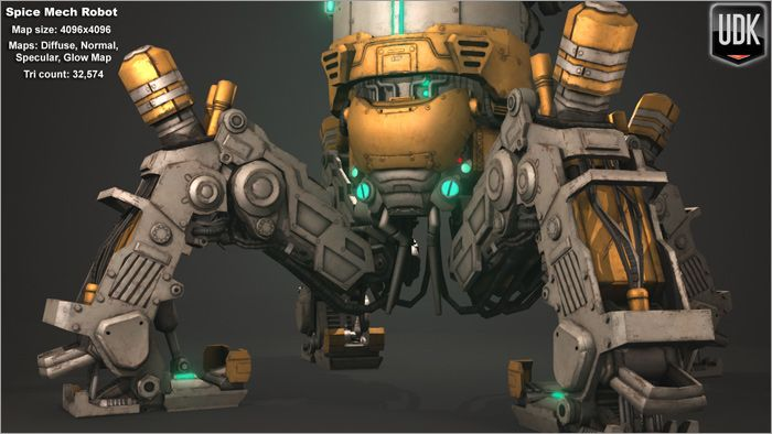Low Poly Spice Mech close-up front