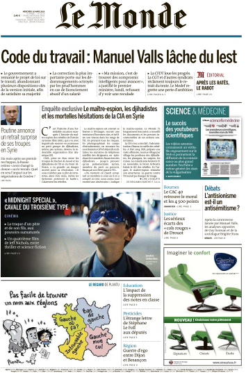 Le Monde du Mercredi 16 Mars 2016