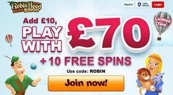 RobinHoodBingo 600% bonus netent casino