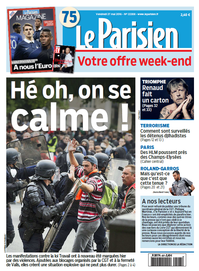 Le Parisien + Journal de Paris & Magazine du Vendredi 27 Mai 2016