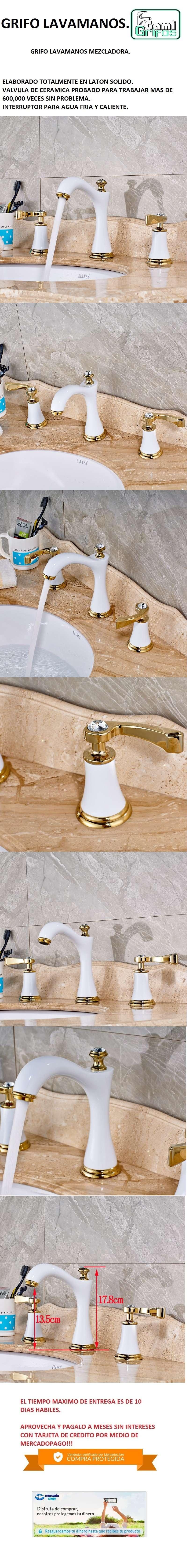 Llave grifo mezclador lavamanos lavabo acabado blanco oro - Grifos para lavamanos ...