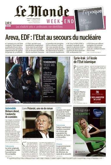 Le Monde du Dimanche 24 et Lundi 25 Avril 2016