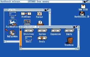 Interfejs użytkownika Amiga Workbench.