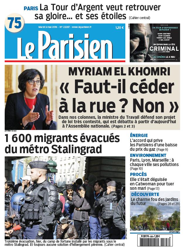 Le Parisien + Journal de Paris du Mardi 3 Mai 2016