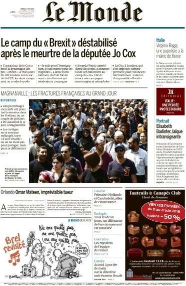 Le Monde du Mardi 21 Juin 2016