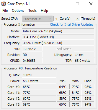 I7 6700 Hovering Around 80 Degrees Celsius