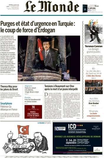 Le Monde du Vendredi 22 Jullet 2016