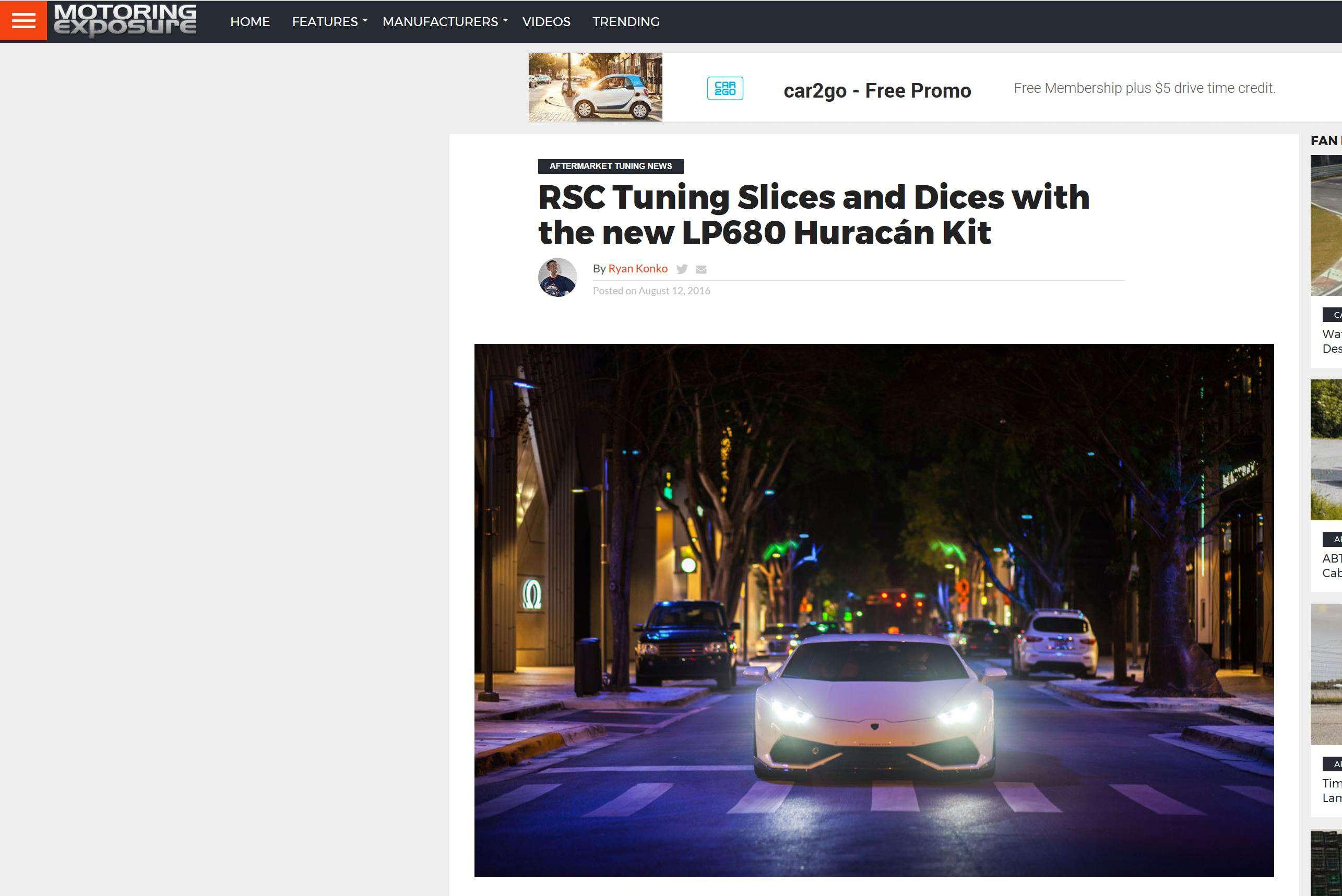 Motoring Exposure Covers RSC Huracan Kit Launch