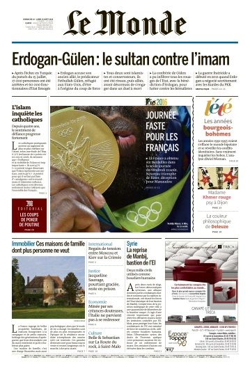 Le Monde du Dimanche 14 et Lundi 15 Août 2016
