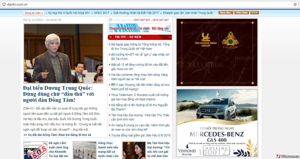 Banner của Vinhomes trên dantri.com.vn