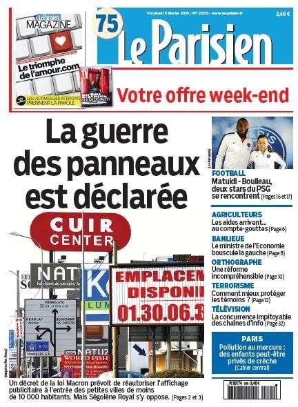Le Parisien + Journal de Paris du Vendredi 5 Février 2016