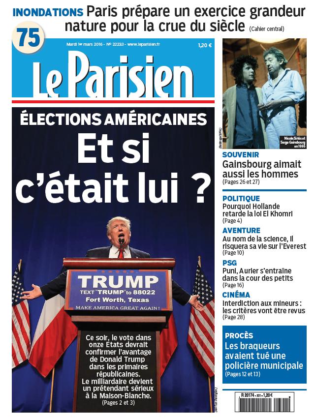 Le Parisien + Journal de Paris du Mardi 1er Mars 2016