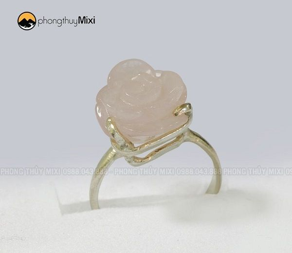 nhẫn bạc hoa mẫu đơn thạch anh hồng