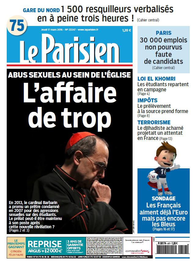 Le Parisien + Journal de Paris du Jeudi 17 Mars 2016