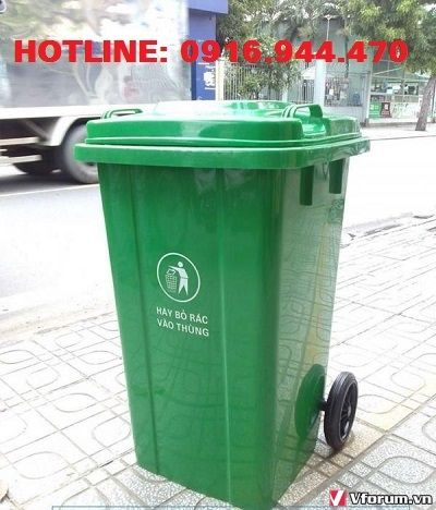 www.kenhraovat.com: Thùng rác nhựa 120 lít, thùng rác có bánh xe, thùng rác