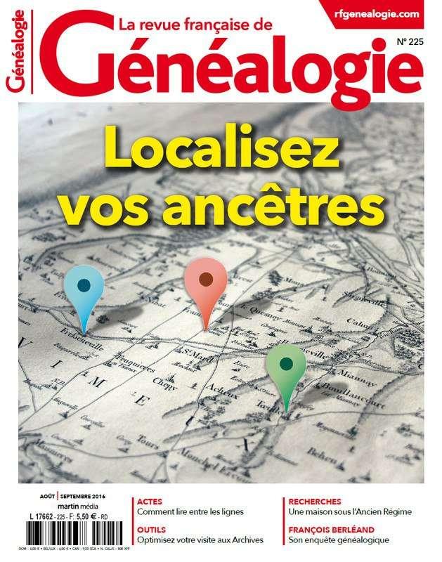 La Revue Française de Généalogie 225 - Aout/Septembre 2016