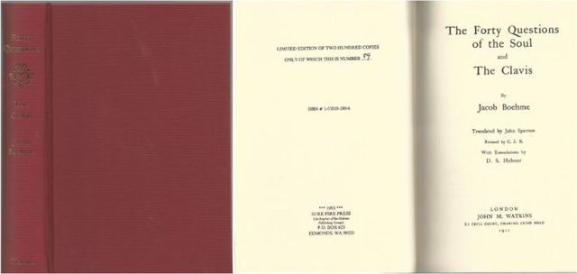 Forty Questions of the Soul, Boehme, Jacob