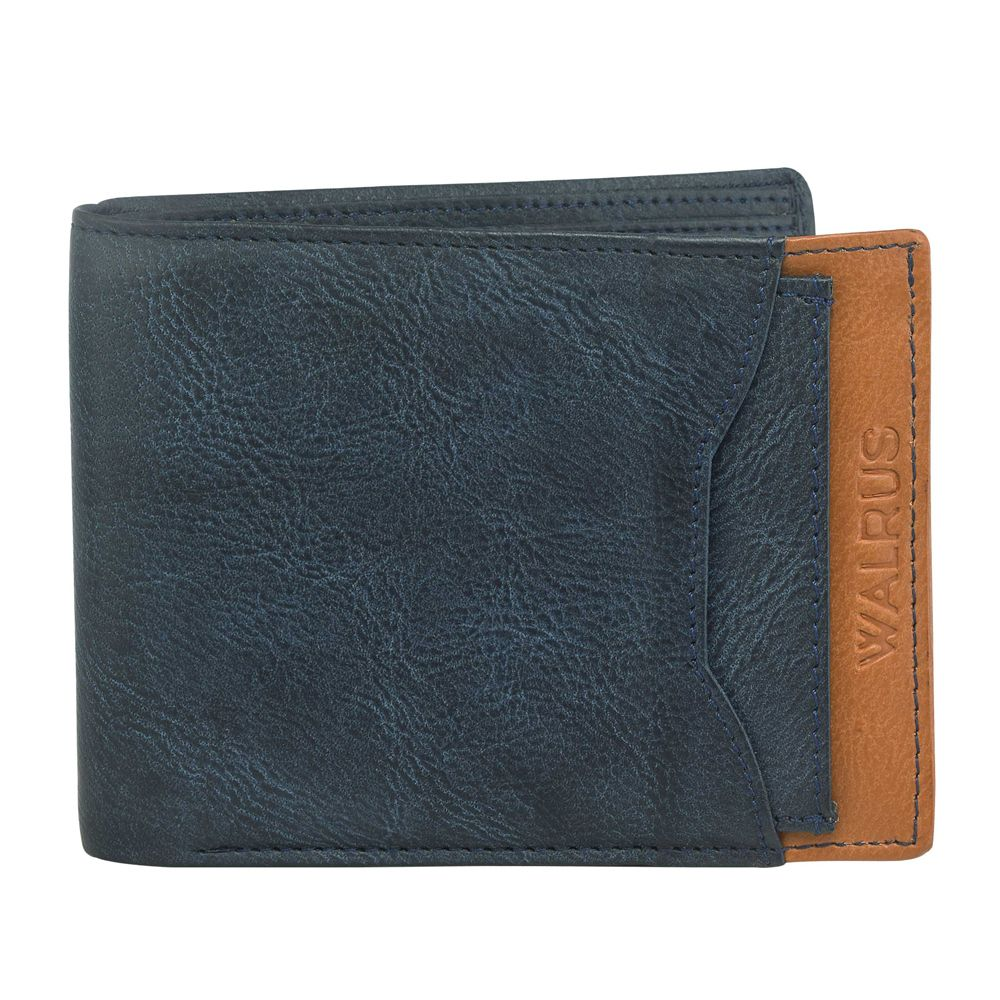 Walrus Martian Blue & Tan Color Men Leather Wallet- WW-MRTN-0316