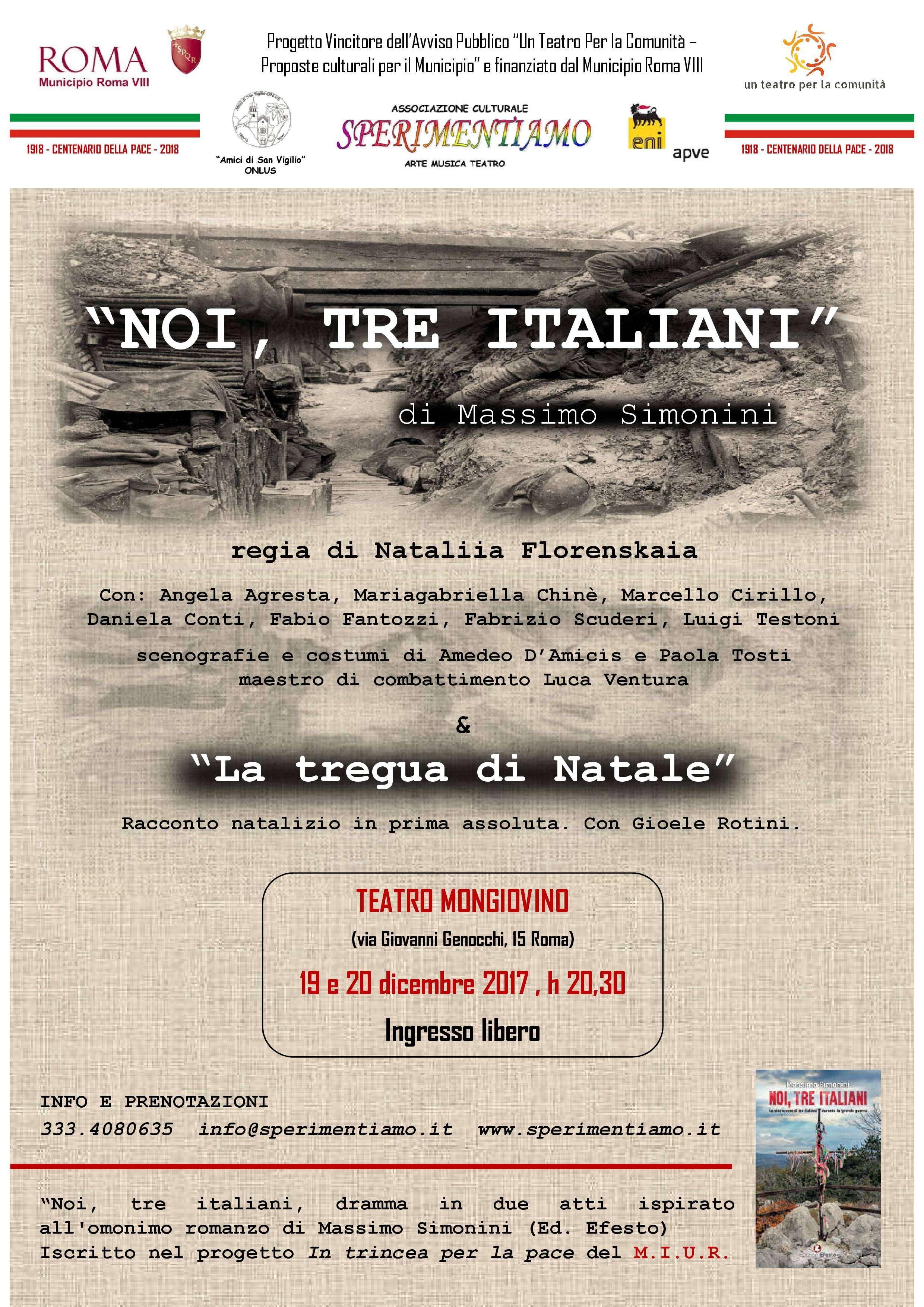 """""""Noi, tre italiani"""" al Teatro Mongiovino il 19 e 20 dicembre. Ingresso Gratuito"""