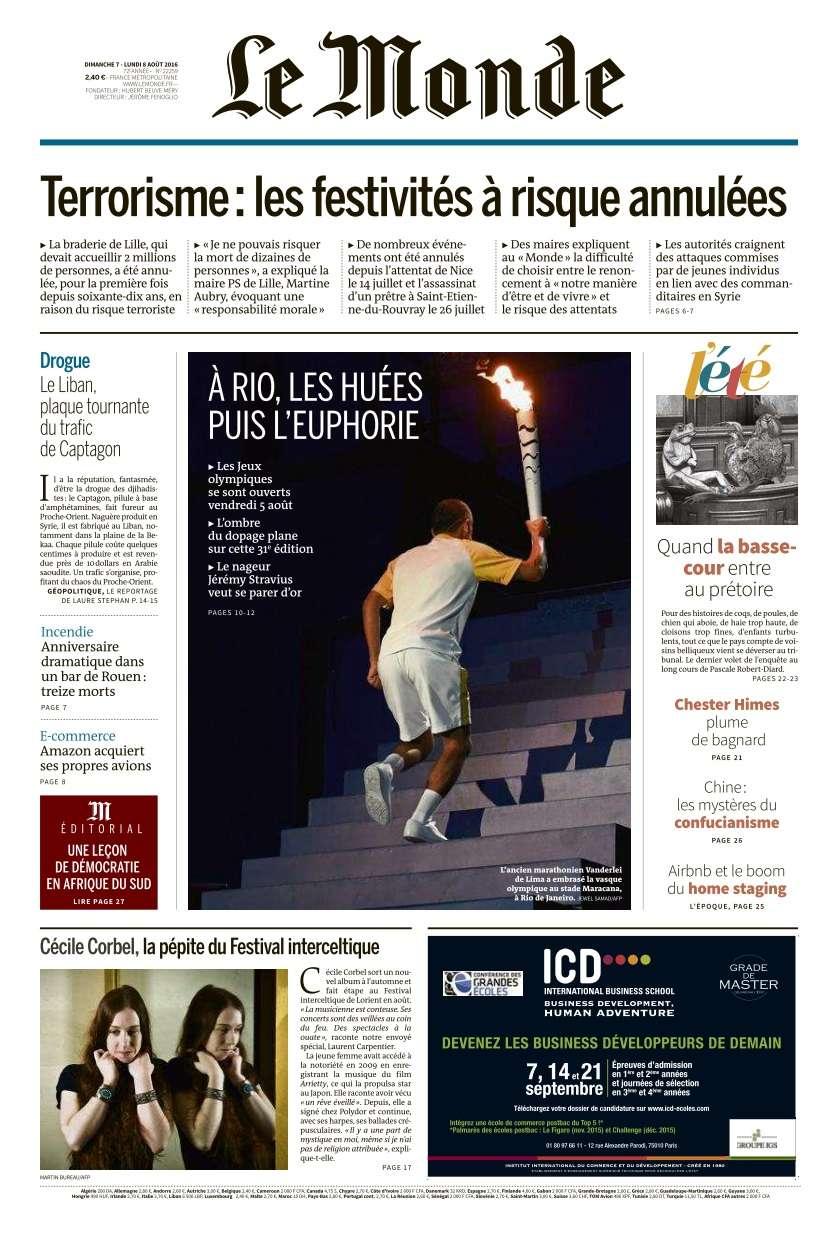 Le Monde du Dimanche 7 et Lundi 8 Août 2016