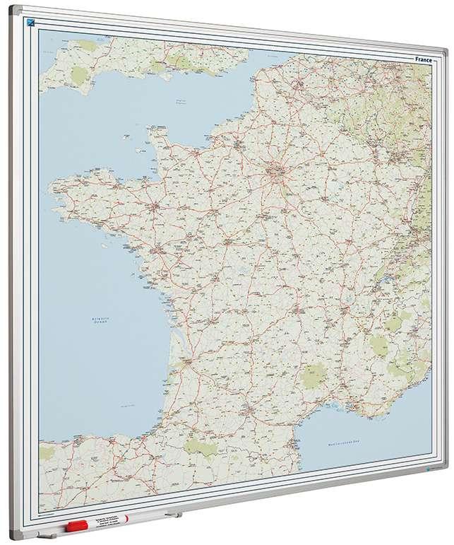 Photo: Landkaart bord Softline profiel 8mm, Frankrijk Wegen