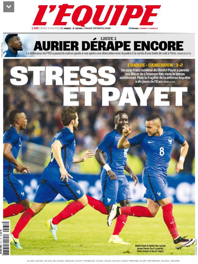 L'Equipe Du Mardi 31 Mai 2016