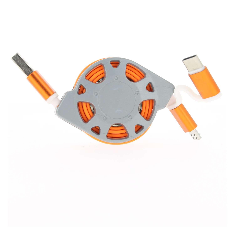 Cable-de-Rechargement-Synchronisation-Micro-USB-USB-Type-C-Apple-Retractable