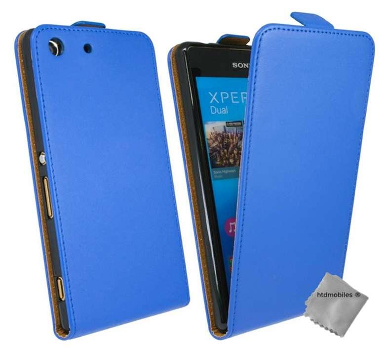 Housse-etui-coque-pochette-PU-cuir-fine-pour-Sony-Xperia-M5-Dual-film-ecran