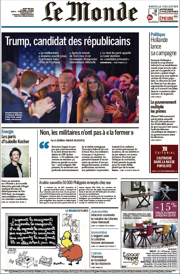 Le Monde du Jeudi 5 Mai 2016