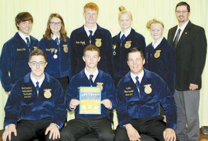 CONFERENCE: Sweetwater FFA Officers attending the COLT Conference. Back row: Cody Keathley, Kinsey Wallace, Dalton Harrell, Hanna Hill, Payton Hill. Corey Johnson. Seated: Garrett Suanders, Binger-Oney, southwest district vice president; Colton Reed and Cale Jahn, Elgin, state FFA president. (Photo provided)