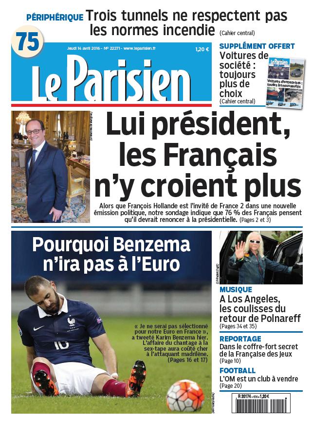 Le Parisien + Journal de Paris du Jeudi 14 Avril 2016