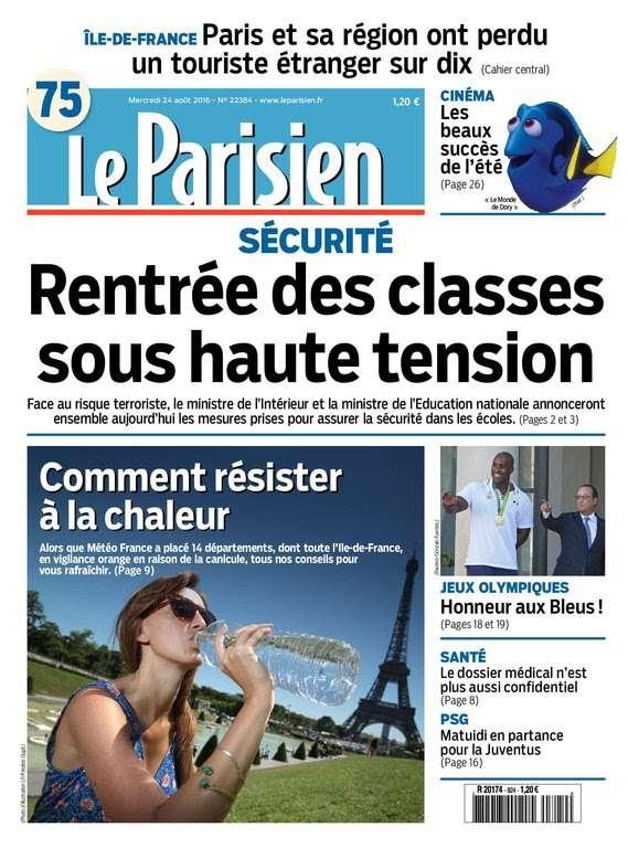 Le Parisien et Journal de Paris du mercredi 24 aout 2016