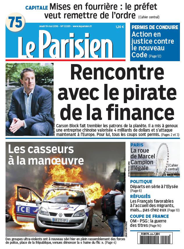 Le Parisien + Journal de Paris du Jeudi 19 Mai 2016