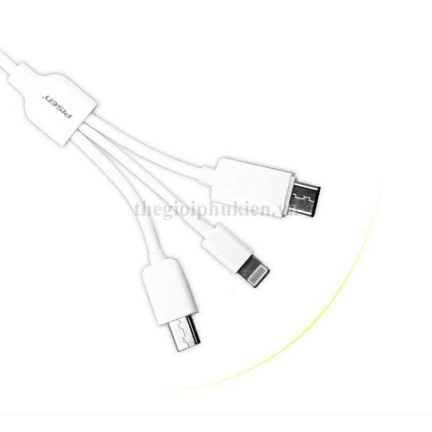 Cáp sạc điện thoại 3 in 1 Pisen AP01-600