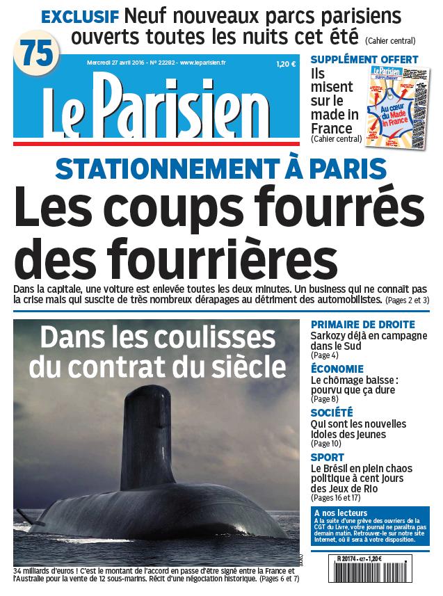 Le Parisien + Journal de Paris du Mercredi 27 Avril 2016