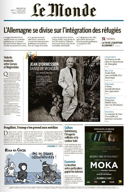 Le Monde du Mardi 16 Août 2016