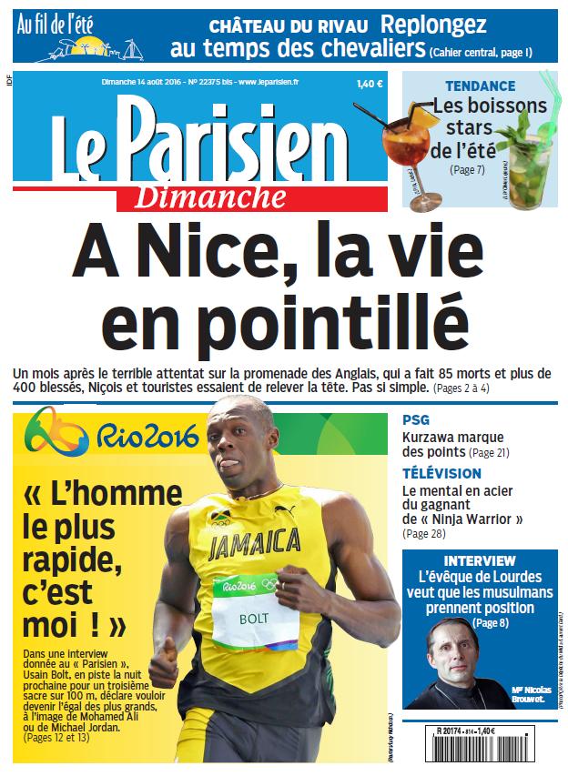 Le Parisien + Journal de Paris du Dimanche 14 Aout 2016
