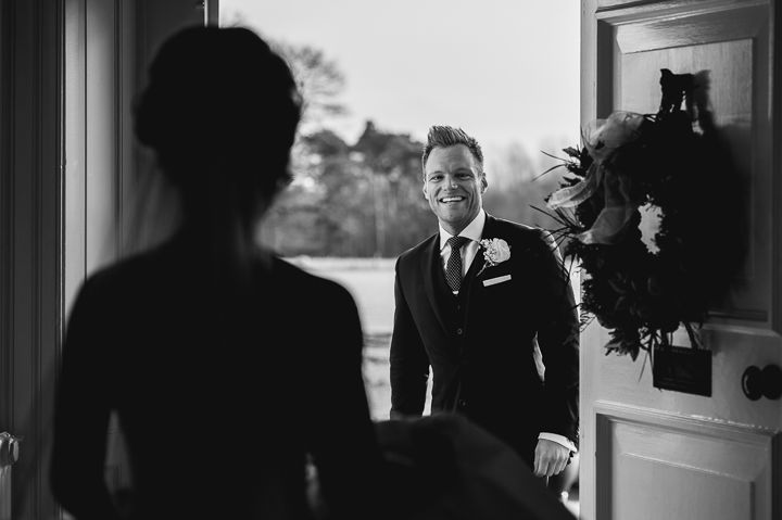 first look wedding photo