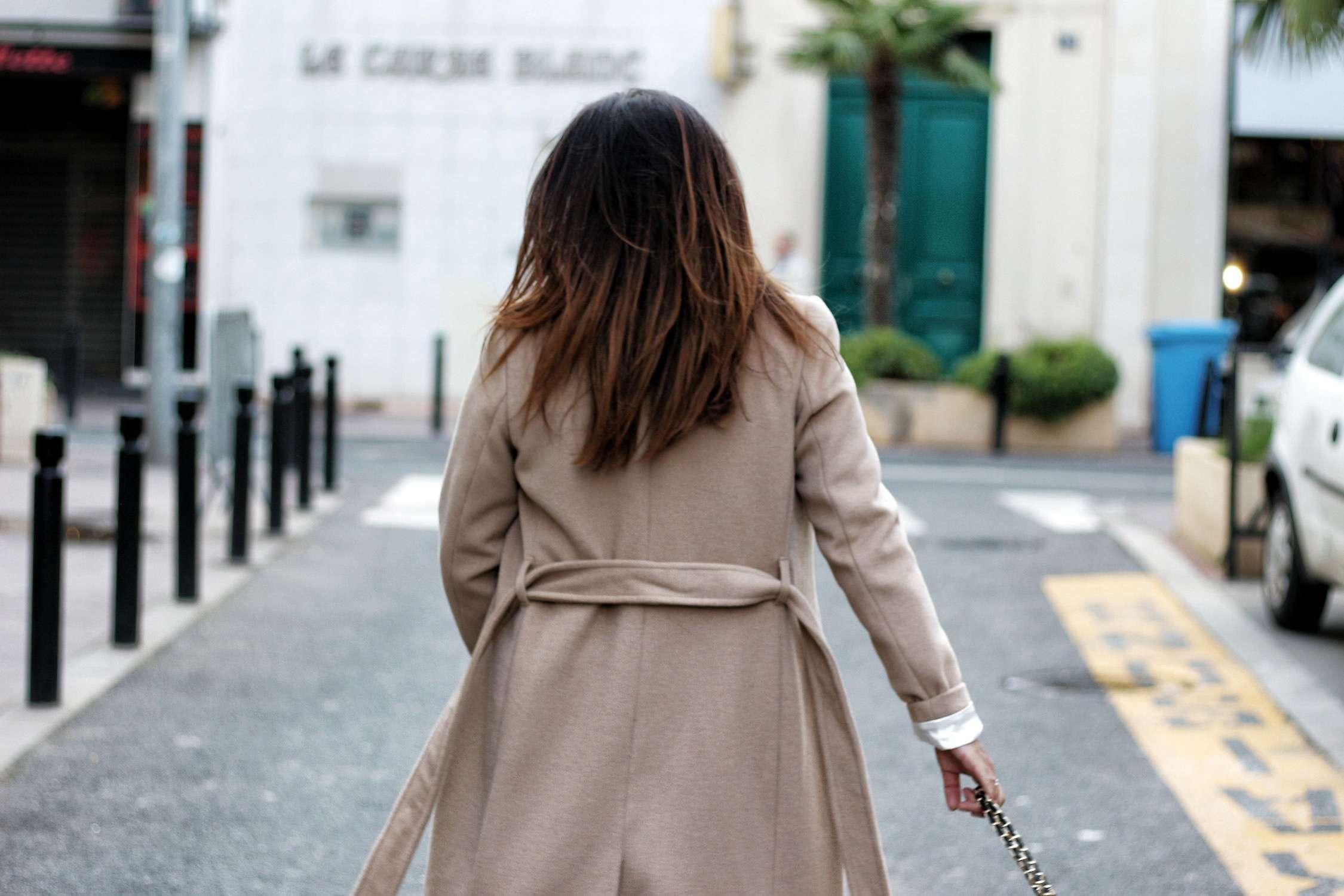 manteau camel, camel, sac inspi chanel, manteau h&m, zara, sheinside, pantalon simili cuir, pantalon simili zara, the green ananas, blogueuse mode, fashion blogger, chemise leopard, leopard