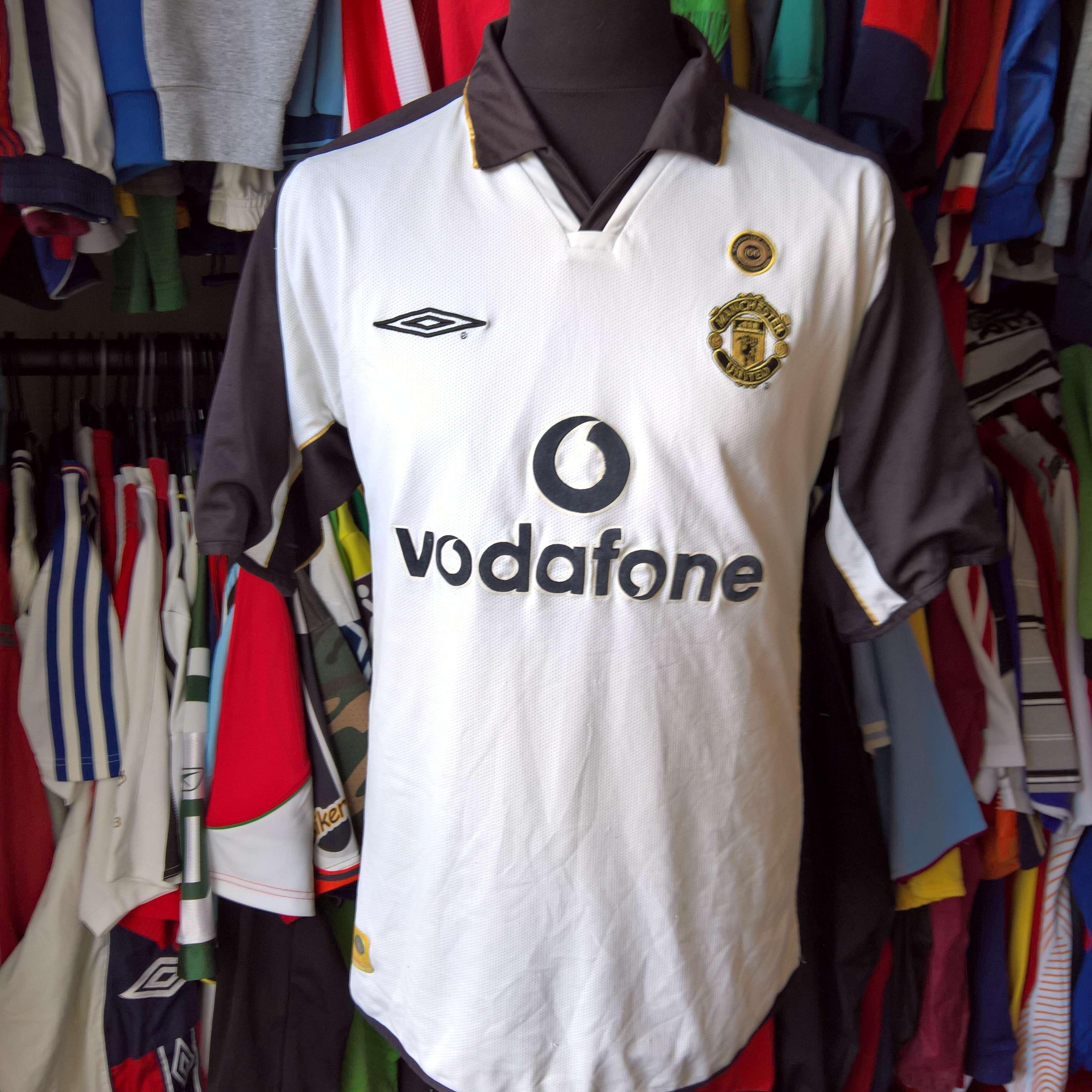 Manchester-United-2001-Centenario-T-Shirt-calcio-REVERSIBILE-Umbro-Taglia-adulti