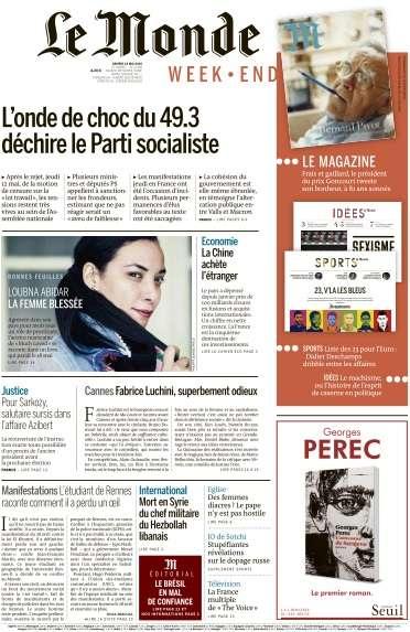 Le Monde du Samedi 14 Mai 2016