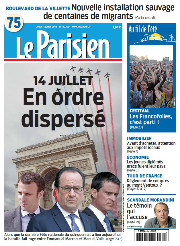 Le Parisien + Journal de Paris du Jeudi 14 Juillet 2016