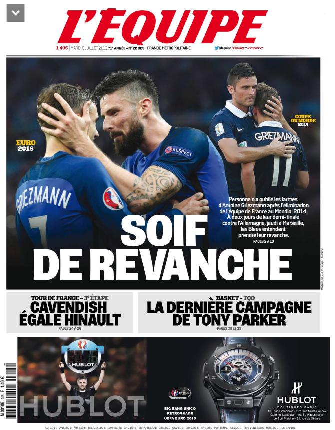 L'Equipe Du Mardi 5 Juillet 2016