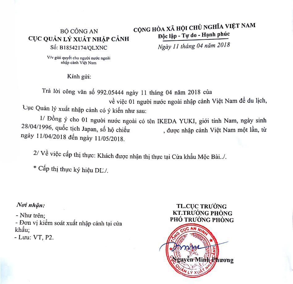 Xin công văn nhập cảnh vào Việt Nam tại cửa khẩu Mộc Bài