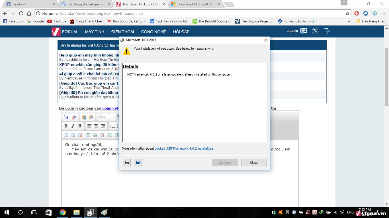 Không cài được .NET Framework 4.6 trên win 10